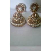White Beads Light Weight Small Golden Jhumka Jhumki Earrings for Women