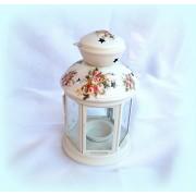 Felinar alb din metal pentru lumanare pastila - floral - 1081