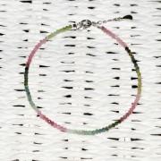 Bratara turmalina multicolor pietre micro fatetate 2mm si argint 925