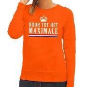 Bellatio Decorations Door tot het Maximale sweater oranje dames XL - Feesttruien