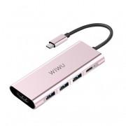WIWU Apollo A531H 5-in-1 Type-C Hub USB-C to 4K HDMI & 3 USB 3.0 & Type-C Charging Port Converter - Rose Gold