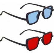 Eyevy Wayfarer, Rectangular, Over-sized, Sports, Retro Square, Wrap-around Sunglasses(Blue, Red)