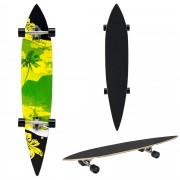 [pro.tec]® Monopatín Longboard para el cruising en la ciudad y el parque - 116x22x12cm - Skateboard (negro, amarillo, verde con palmera)