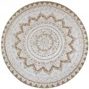 vidaXL Плетен килим от юта с принтове, 150 см, кръгъл
