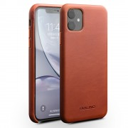 QIALINO Genuine Leather Phone Back Case for iPhone 11 6.1-inch - Brown