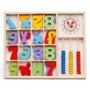 Computation study box Wooden 3 columns Abacus for Kids Counting Colors Numbers Maths Learning Educational Toy (Multicolo