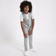 River Island Mens Boys Grey check suit waistcoat (8 Yrs)