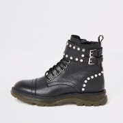 River Island Womens Black leather studded lace-up hiking boots (3)