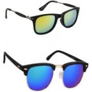 Amour-Propre Wayfarer, Clubmaster Sunglasses(Green, Blue)