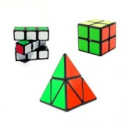 I-xun Sample Magic Cube for Beginner Puzzle Cube Pack 3 cubes in Package 1x3x3 and 2x2x2 and Pyraminx