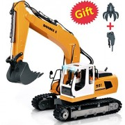 Double E Rc Excavator 17 Channel 1/16 Scale Three-in-One(Excavate, Drill and Grasp) Remote Control Tractor Toy Construction Vehicles Truck