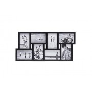 Malden International Designs Puzzle 8-Way Opening Plastic Picture Frame Collage, 4 by 6-Inch, Black