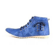Bhavya Collection Men's Blue Ankle Length Canvas Boots - 9 (BTM-061-Boot_9)