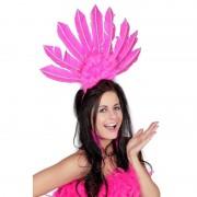 Geen Roze haarband met veren voor dames