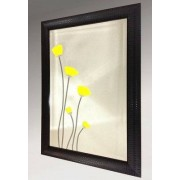Yellow Poppies Bevelled Mirror 61X86cm
