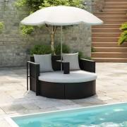 vidaXL Градински комплект с чадър, черен изкуствен ратан
