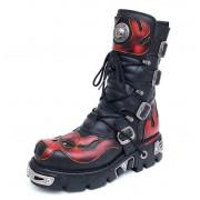 bottesen cuir - Vampire Boots (107-S1) Black-Orange - NEW ROCK - M.107-S1