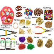 AM Silk Thread Jewellery Making Kit with Colourful Pom Pom, Plastic, Wooden Beads and Storage Box (Multicolour) - Pack of 22