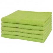 vidaXL Uteráky do sprchy zo 100% bavlny, 5 ks, 360 g/m², 70x140 cm, zelené