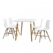 [en.casa]® Juego de comedor - mesa blanca 120 x 70 x 75cm + sillas blancas 80 x 44,5cm