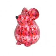 Pomme Pidou Spaarpot muis roze met vlinder print 17 cm