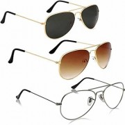 Magjons Fashion Combo Of Brown Black gold Clear Aviator Sunglasses