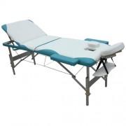 Masážní stůl hliníkový 3-zóny MH bílá/azur
