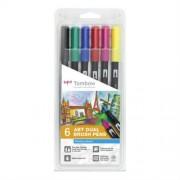 Tombow Brush Pen Tombow - ZESTAW 6 SZT - podstawowe kolory - podstawowe