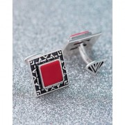 Dare by Voylla Red Stone Milestone Framed Cufflinks