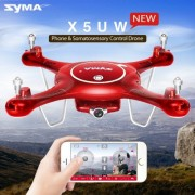 SYMA X5UW 360 Degree Flip 4-Channel 2.4GHz WiFi Camera HD 720P Real-time FPV Radio Control Quadcopter with 0.3MP Camera & 4GB TF Card & 6-axis Gyro & LED Light & Remote Controller(Red)