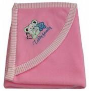 Furn@Home Teddy Family Hood Anti Pilling Pink Baby Blanket