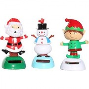 Christmas gift sets of 3 - 2014 Version 1 Snowman 1 Santa Claus 1 Elf Solar Powered Bobble Head Toy