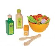 Hape Cuisine - E3116- Set De Salade - Avec Des Légumes En Feutre , Du Vinaigre , De L'huile D'olive, Poivrier Et Un Couvert Saladier