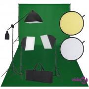 vidaXL Studio Kit: Zelena Pozadina, 3 Svjetla i Reflektor