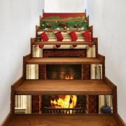Rosegal Autocollants Décoratifs d'Escalier Motif Cheminée et Chaussettes de Noël 100*18CM*6pcs