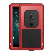 LOVE MEI Dust-proof Shock-proof Splash-proof Defender Mobile Shell for Sony Xperia XZ2 - Red