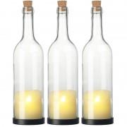 Lunartec 3er-Set Deko-Glasflasche mit LED-Kerze und beweglicher Flamme, Timer