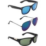 Abner Wayfarer, Aviator, Wrap-around Sunglasses(Blue, Blue, Green)