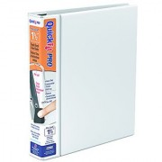 QuickFit 1.5-Inch PRO Heavy-Duty Single Touch View Binder Locking D-Ring White (90020)