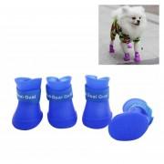 Adorable Perro Mascota Cachorro De Color Caramelo Zapatos Botas De Goma Lluvia Impermeable Zapatos, S, Tamaño: 4,3 X Cm (azul)