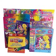 Lisa Frank Gift Set #3 2 Coloring Activity Books, Playskool Crayons, Glitter Art Kit With Pets, 96 Stickers, 48pc Rainbow Puzzle 6 Item Bundle