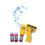 INCHOI Bubble Shooter Gun Light up Bubbles Blower with LED Flashing Lights and Sounds School Bus Toys for Kids, Boys and Girls.