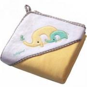 Бебешка велурена кърпа за баня с качулка - жълта, 138 03 Babyono, 7930057