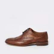 River Island Mens Mid Brown leather lace-up brogues (9)