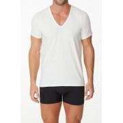 Parker & Max Classic Cotton Stretch Deep V Neck Short Sleeved T Shirt White PMFPCS-TDVN1