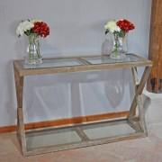 Console chêne et verre 120x38x75 cm