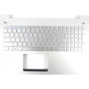 Carcasa superioara cu tastatura iluminata palmrest laptop Asus R552LF argintiu layout US