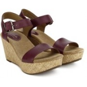 Clarks Women Plum Leather Wedges