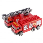 MagiDeal 2 pieces Diecast Fire Truck Construction Vehicle Cars Model Toys for Boys Girls