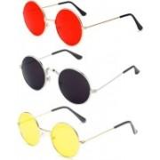 John Dior Round, Round, Round Sunglasses(Red, Black, Yellow)